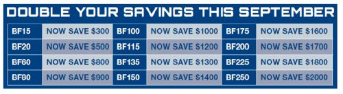 Double the Savings September 2016 with Honda Marine table